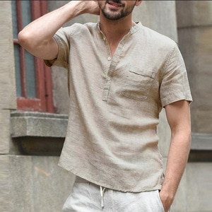 2021 New Mens Short-Sleeved Linen Button T-Shirt V-Neck Fashion Summer Casual Polyester Solid Color Breathable Loose Top T-Shirt