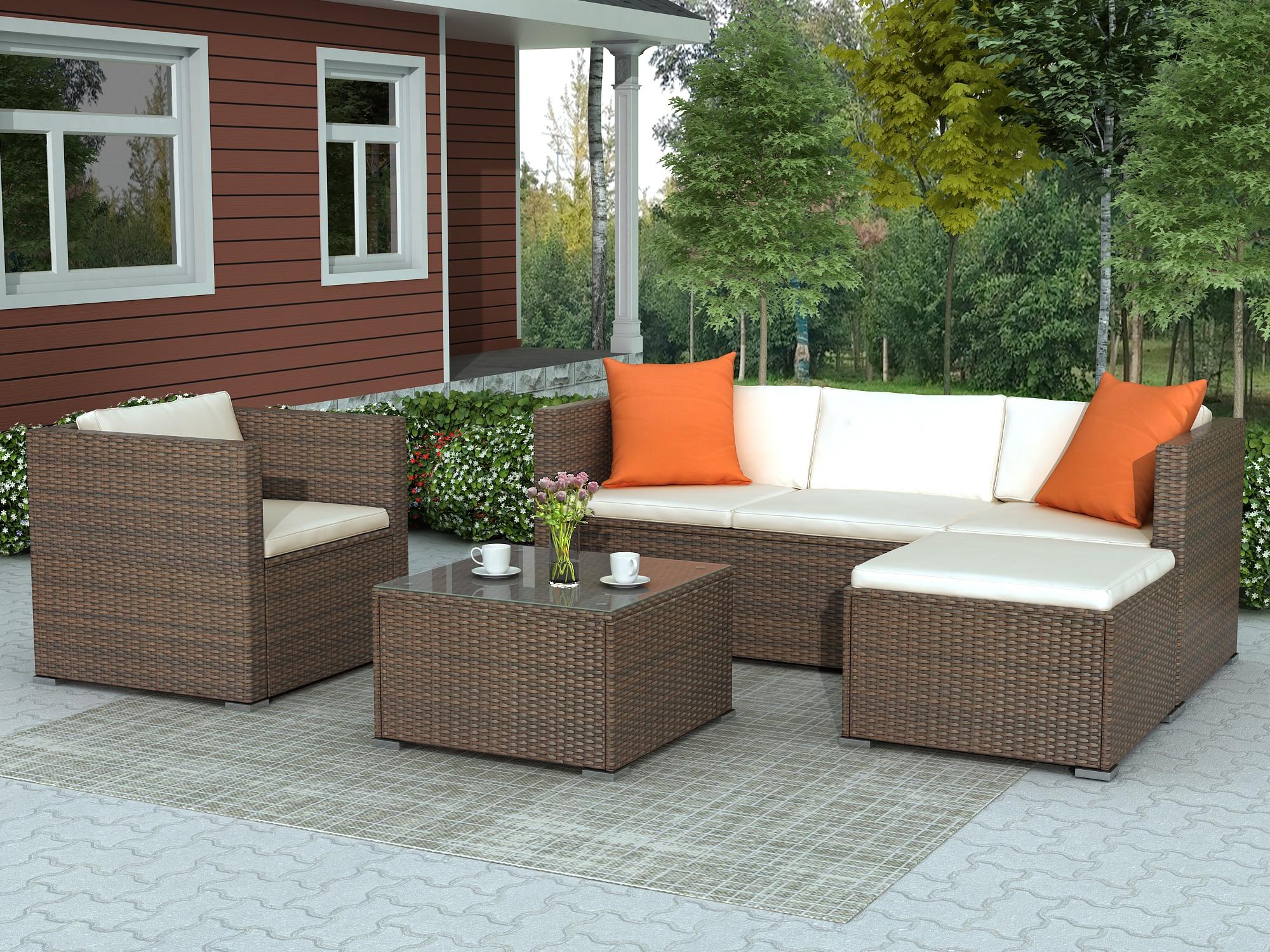 Набор мебели для патио из ротанга, плетеный диван с подушкой, секционный комплект мебели для сада, дивана, Прямая поставка