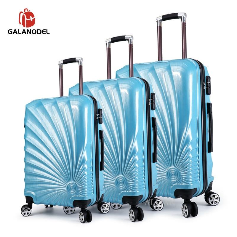 20/24 28 pulgadas 3 uds equipaje rodante conjunto maleta de viaje con ruedas giratorias Cabin carry on trolley bolsa de equipaje estuche de moda