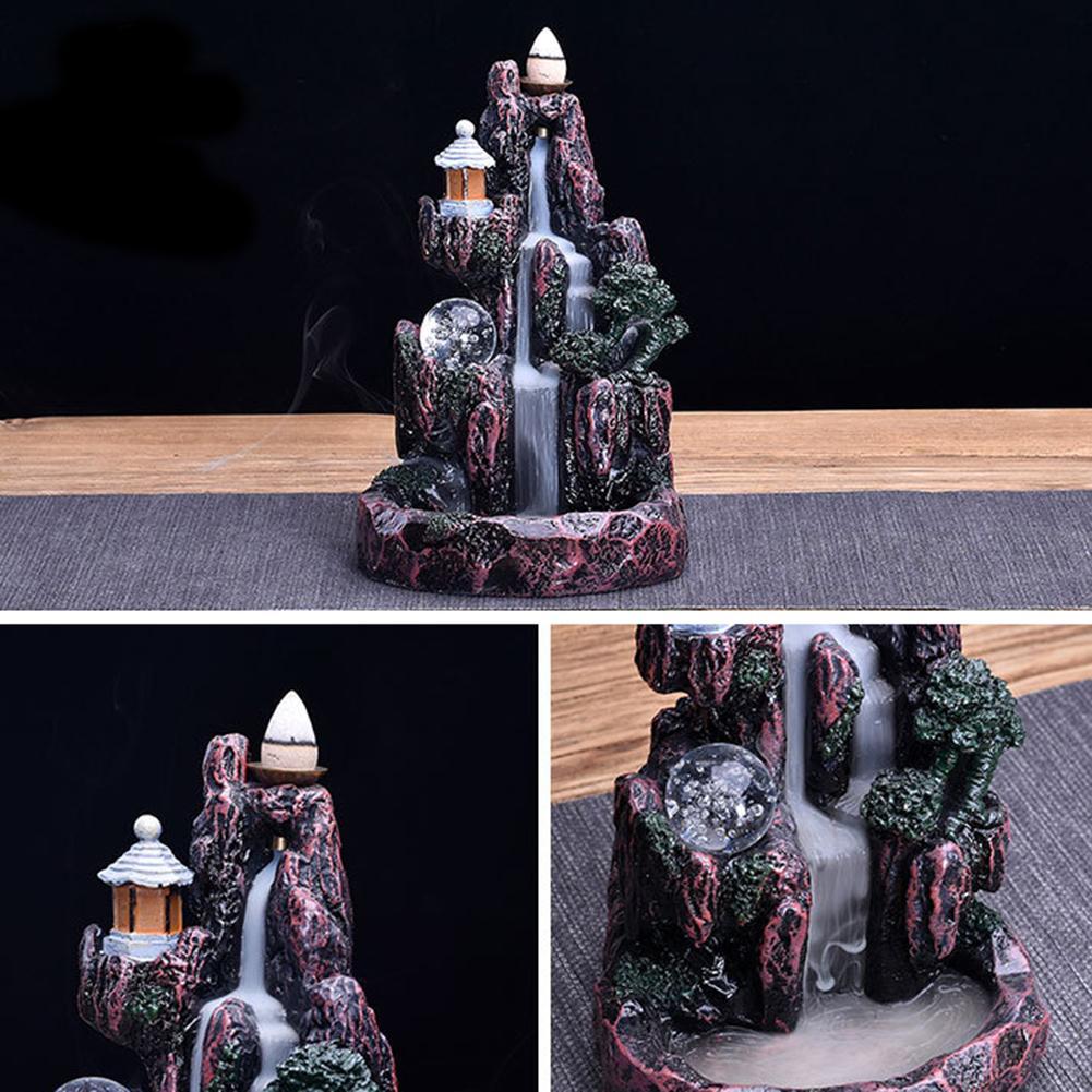 Nova resina led refluxo censer difusor retrofluxo queimadores de incenso titular budista zen censer decoração para casa cones incenso cachoeira