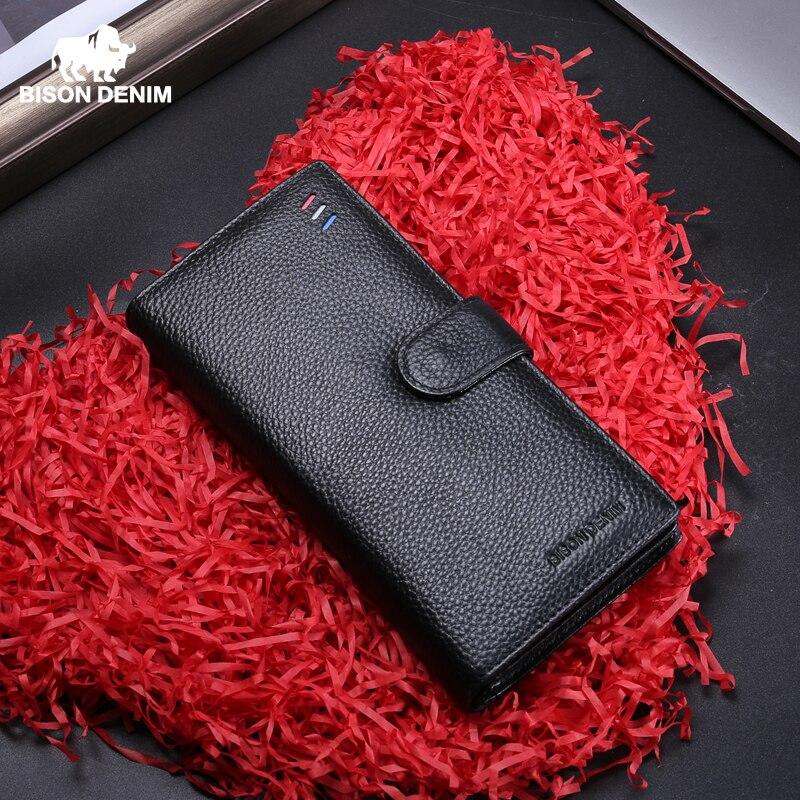 BISON DENIM-محفظة رجالية طويلة ، حامل بطاقات ، جلد البقر ، جيب بسحاب ، جلد طبيعي ، N8206