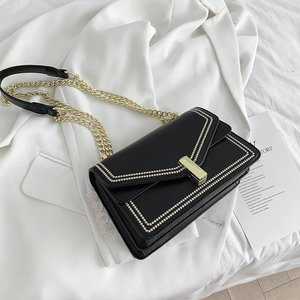 Contrast Color Pu Leather Crossbody Bags For Women 2020 Chain Simple Shoulder Bag With Metal Handle Lady Tote Handbags bolsos