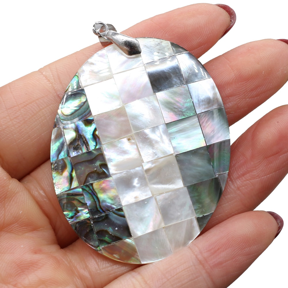 Natural Shell Charms Crack Abalone Seashell Pendant for DIY Necklace Making Jewelry Findings Gift for Women Men  - buy with discount