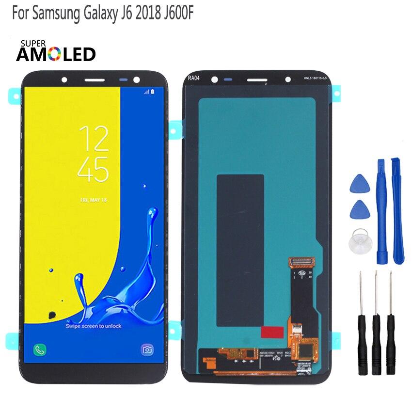Tela lcd oled original para samsung galaxy j6 2018, display touch screen digitador montagem de substituição j600f j600