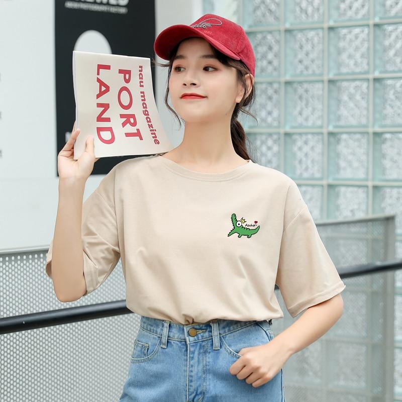 Camiseta de verano de mujer Harajuku de manga corta Kawaii divertida de dibujos animados de cocodrilo impreso camiseta mujer Streetwear ropa de algodón Tops ropa