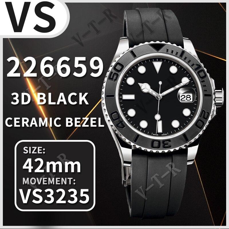 Men's Mechanical Watch 42MM Yacht-Master 226659 VSF New 1:1 Best Edition 3D Black Ceramic Bezel on B