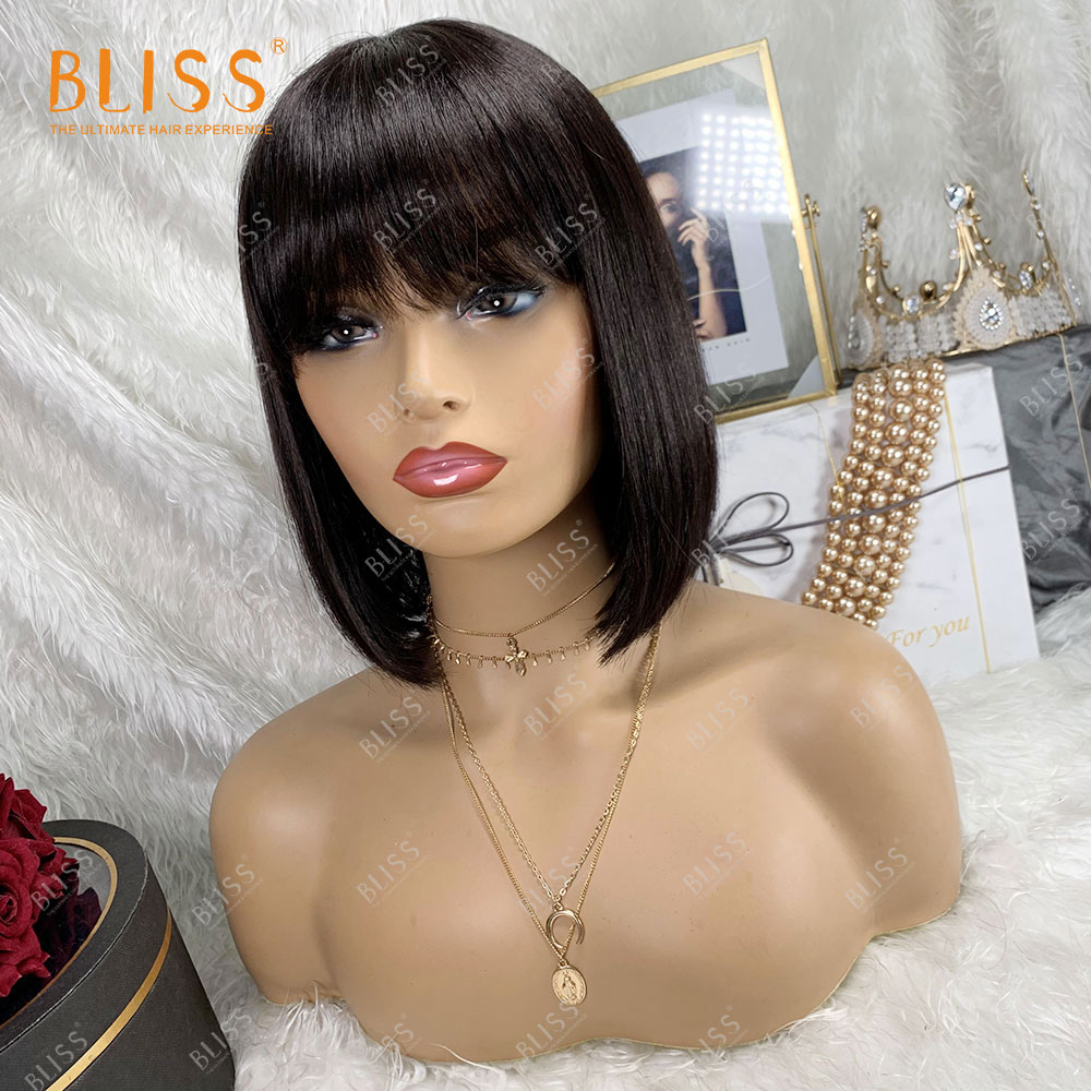 BLISS Straight Human Hair Wigs For Women Bob wigs With Bangs Natural Fringe Remy Human hair Machine made Wigs 8 Inches