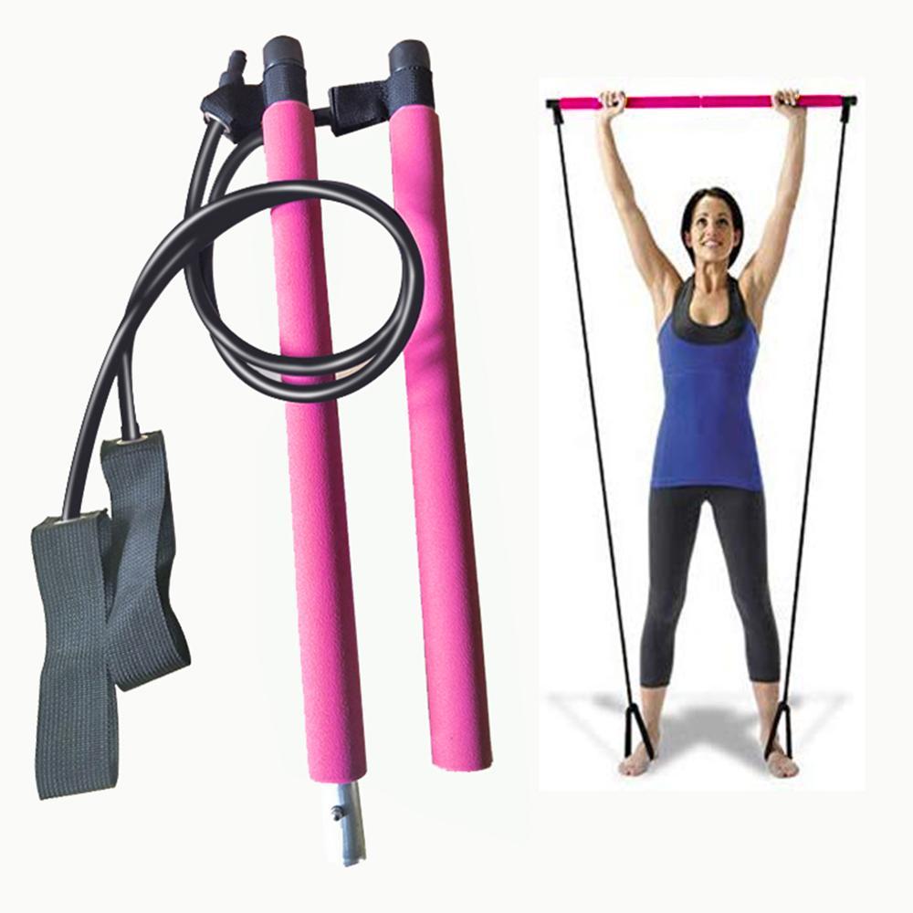 Varillas de Yoga portátiles, barra multifuncional para gimnasio, Pilates, barra con banda de resistencia para ejercicio físico en casa, entrenamiento corporal