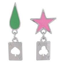 Anime Hisoka Cosplay Earrings Five-pointed Star Teardrop Trendy Dangle Earrings Jewelry Gift for Girlfriend
