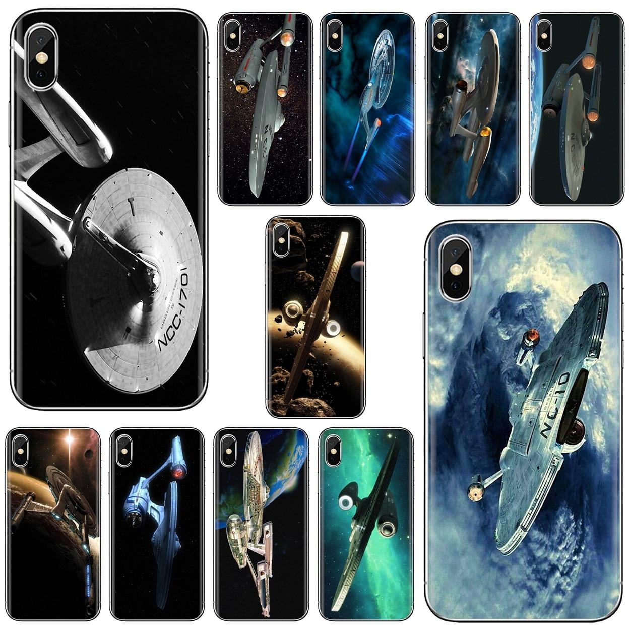 Para Nokia X6 2 3 5 6 8 9 230, 3310, 2,1, 3,1, 5,1, 7 Plus 2017 2018 Slim silicona suave del teléfono del TPU del caso de Star Trek nave espacial arte cartel