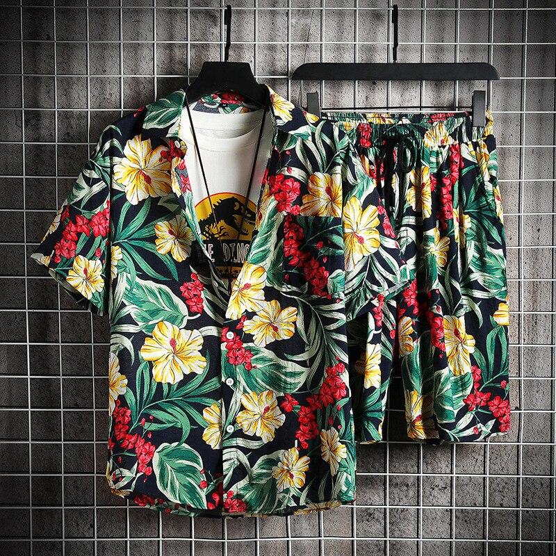 Мужской спортивный костюм с цветочным принтом Мужские комплекты нижнего белья пляжная одежда из 2 предметов комплект летней модной одежды ...
