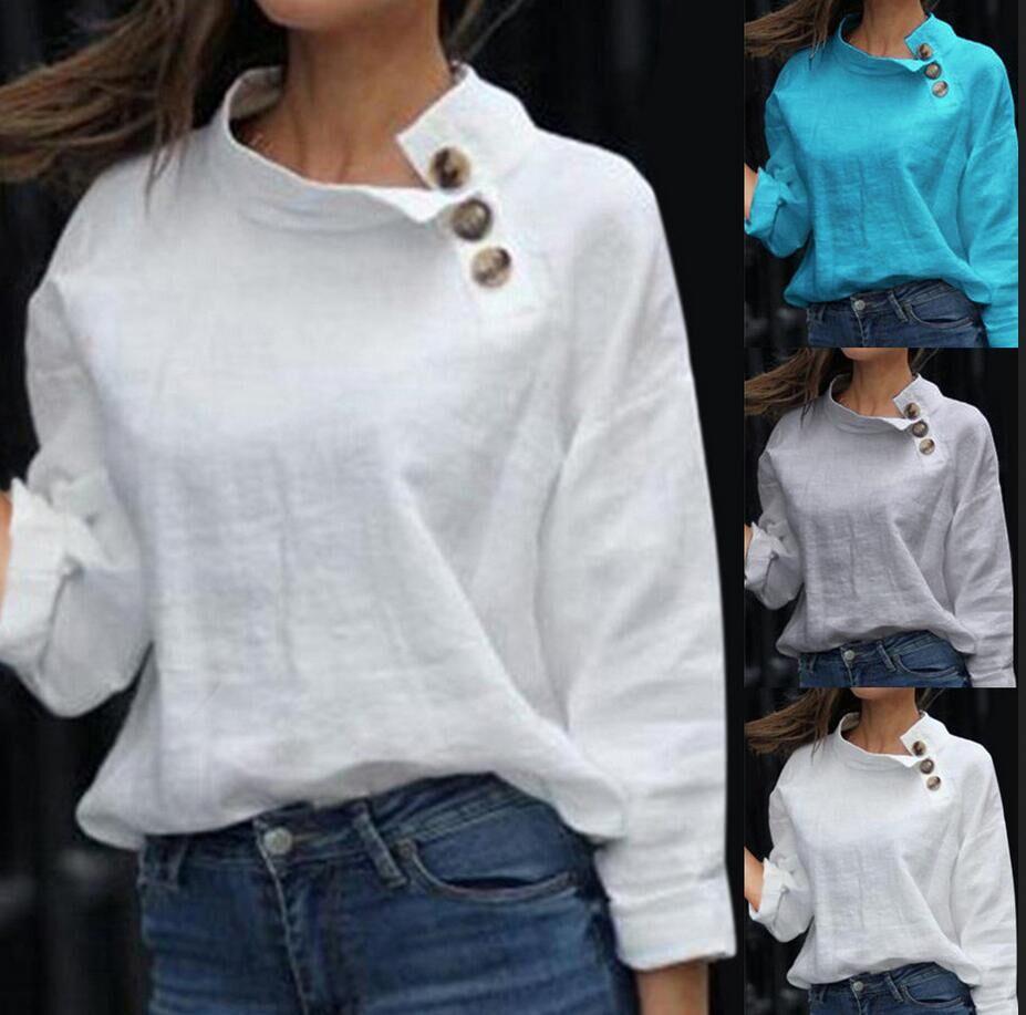 Linen Shirt Women Summer 2020 Elegant White Blouse Long Sleeve Casual Blusa Blanca Mujer Chemisier Femme Blusas Transparentes