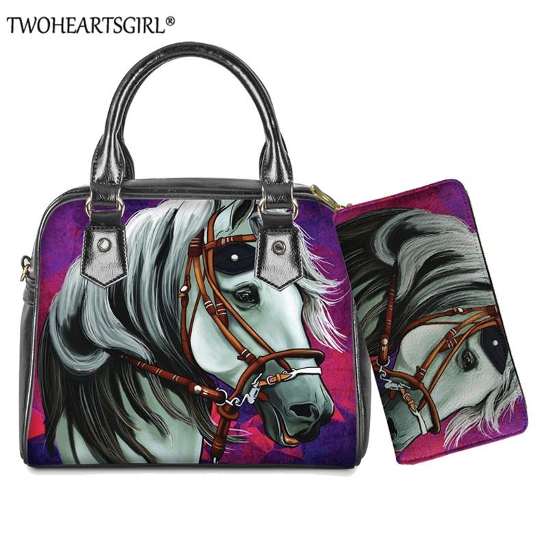 Couro do Plutônio Bolsa de Ombro Bolsa com Carteira Twoheartsgirl Feminina Senhoras Bolsas Cavalo Louco Impresso Feminino Pequeno Crossbody 2 Pçs – Set