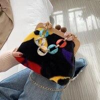 retro plush thick chain bag for women wood clip shoulder crossbody bag fashion 2021 new designer shopper evening handbags purses