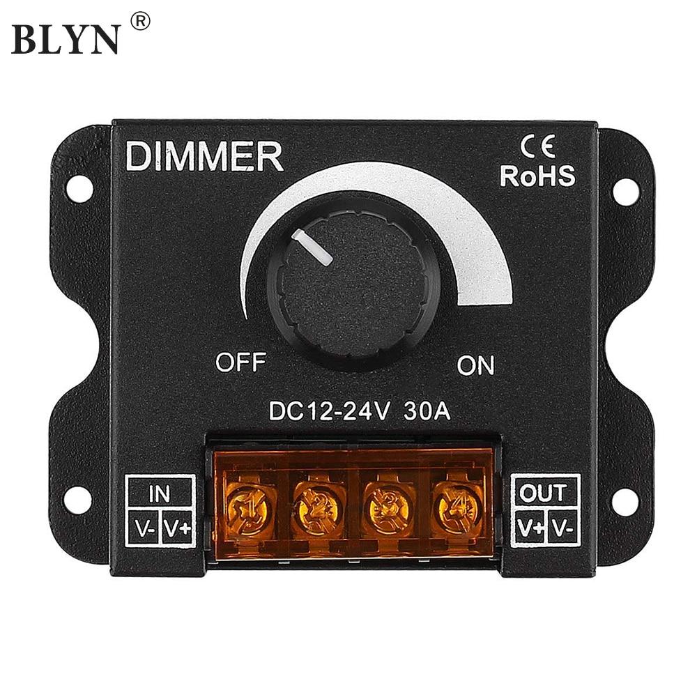 12 V/24 V DC 30A LED PWM Dimmer Controller AUF/Off Schalter mit Metall Shell für Einzel farbe 5050 3538 5630LED Streifen Lichter Band