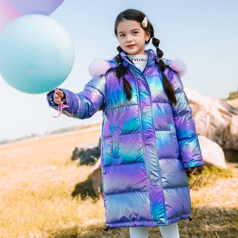 jaqueta brilhante unissex de inverno casaco quente com capuz para meninos e meninas