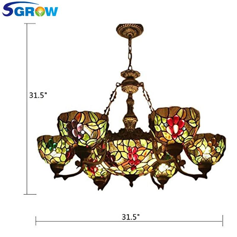 SGROW hecho a mano-Tiffany lámpara iluminación interior del accesorio para sala de...