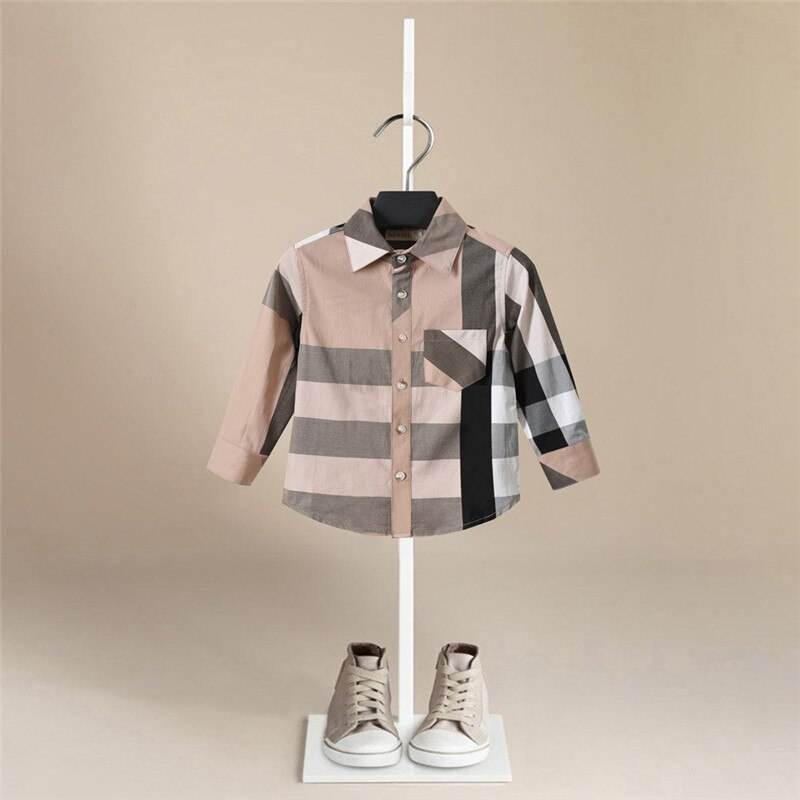 Fashion Brand Baby Clothes Autumn Top Baby Boy Shirt  Long Sleeve Plaid Shirts  Girl Cotton Blouse Baby Shirts Kids Clothing