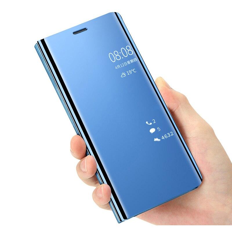 Lujosas fundas de teléfono con tapa espejo inteligente para Samsung Galaxy A80 A90 Funda de cuero soporte de pie para Samsung Galaxy A90 A80 Coque