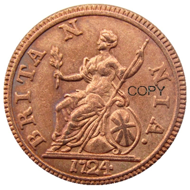 UK, 1724, navegando por las monedas británicas de George I, moneda de copia muy rara