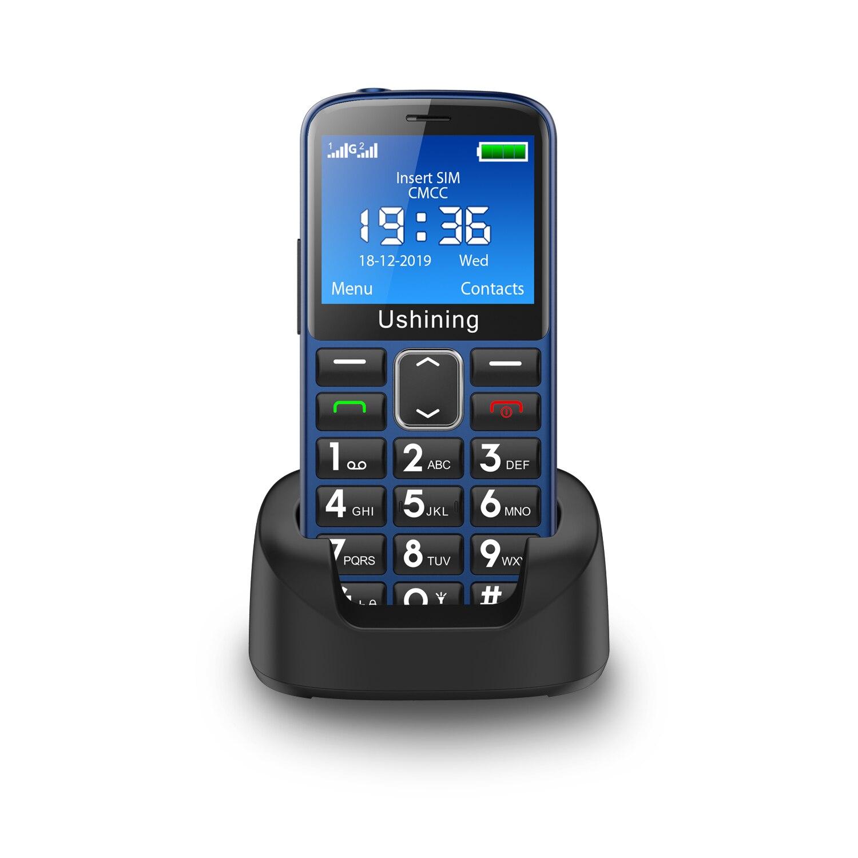 2G botón grande 1000MAH sonido Loundly teléfono móvil para ancianos desbloqueado Senior con teclado Inglés de emergencia SOS