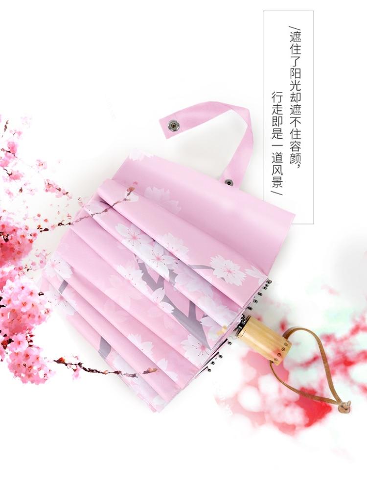 Windproof Folding Sun Umbrellas Folding Wooden Handle Sun Pink Cherry Umbrellas Luxury Paraguas Plegable Garden Rain Gear AG50ZS enlarge