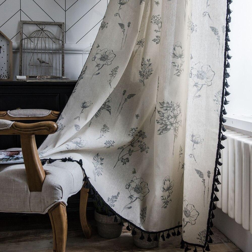 ستائر غرفة المعيشة الحديثة بشرابة ، ستائر نوافذ فرنسية ، ستائر غرفة نوم من الكتان القطني ، ديكور منزلي