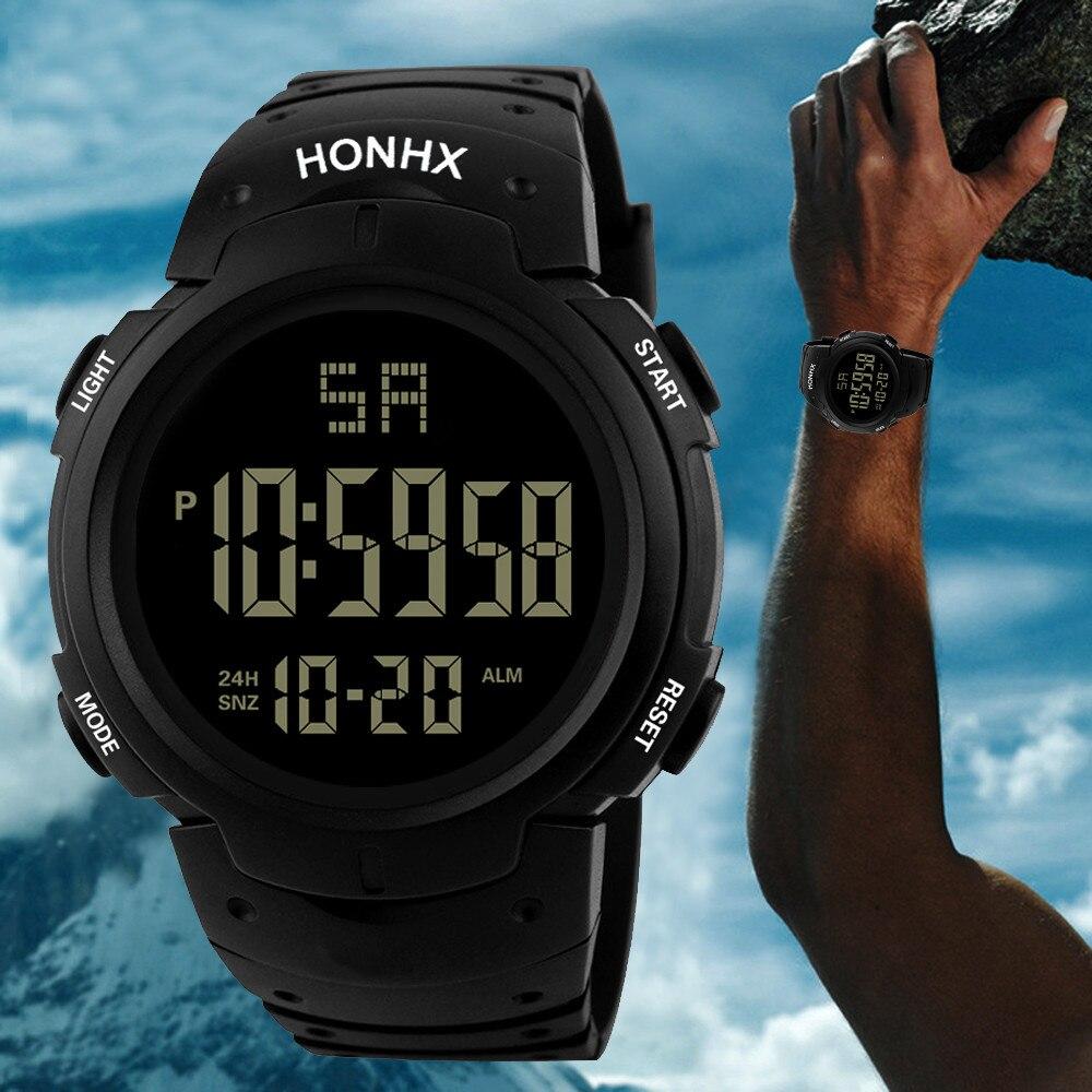 Hot Clock 2021 Fashion Men's LED Camping Out Digital Quartz Military Sport Date Watch Elegant Analog