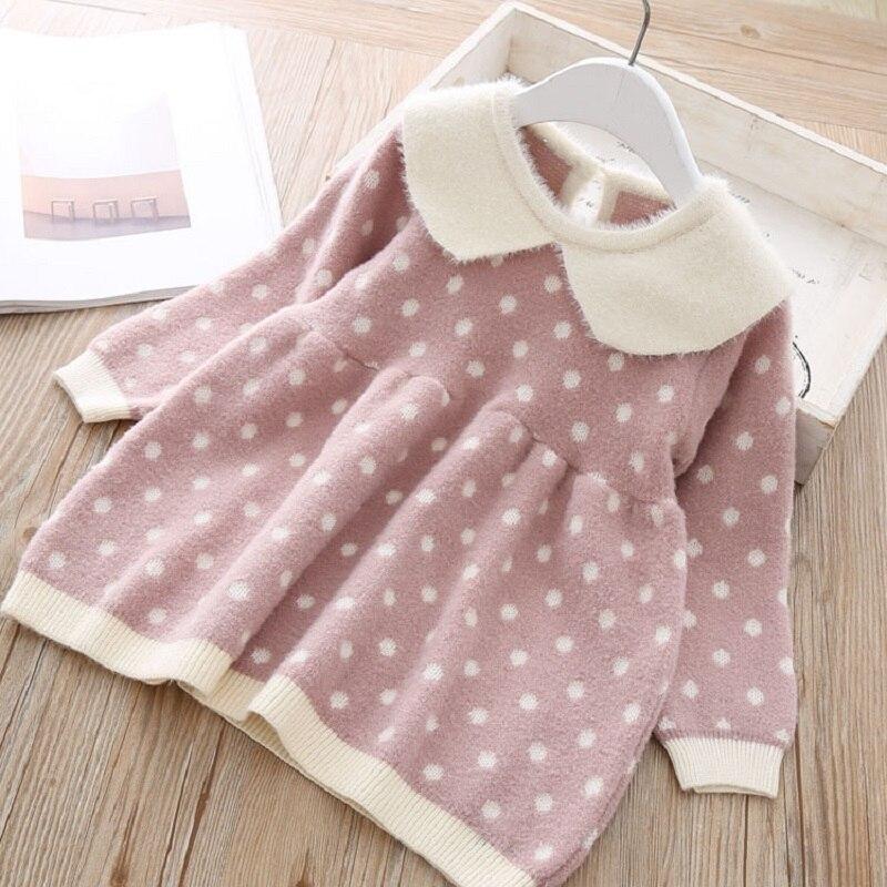 Warm Autumn winter dot knit Long-Sleeve tutu Princess Dress Doll brought Kids Dresses For Toddler costume Baby Girls Dress