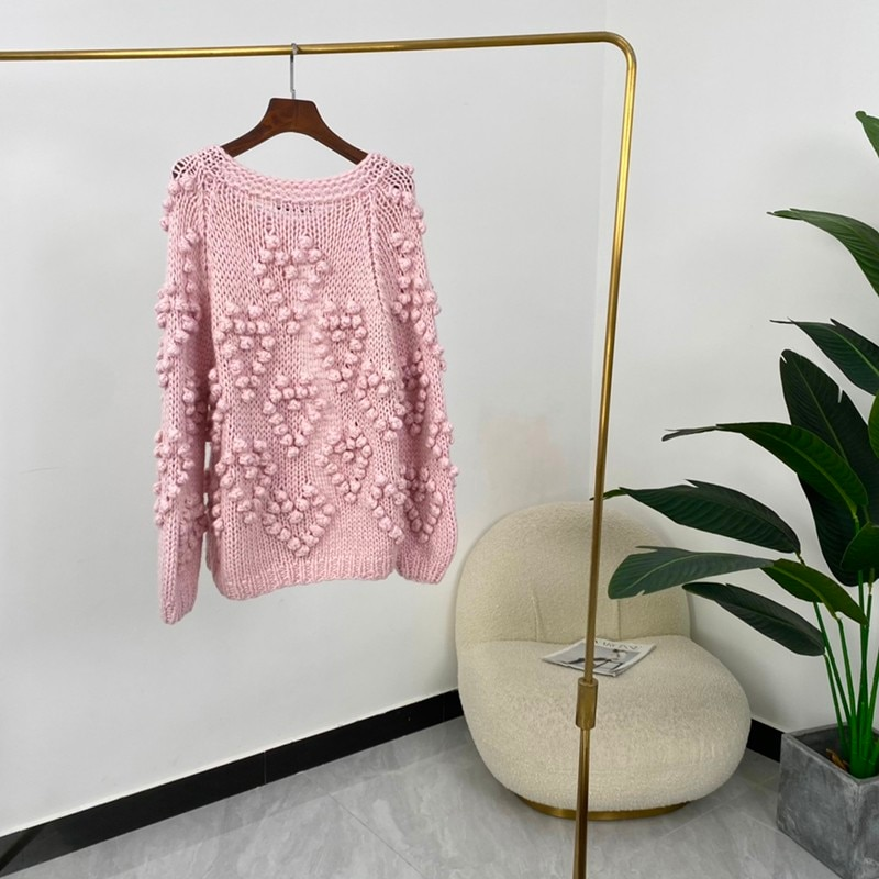 Autumn Women Fashion Solid Long Sleeve Open Stitch Loose Sweater High Quality enlarge