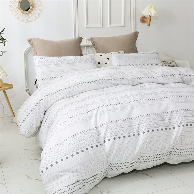 Nordic Simple Floral Geometric Bedspread Bedclothes Quilt cover Queen King Size Bedding Set Polyester Duvet Covers Bed Linens geometric print bedding set black stripe king size duvet cover sets single double full queen bed linens quilt covers bedclothes