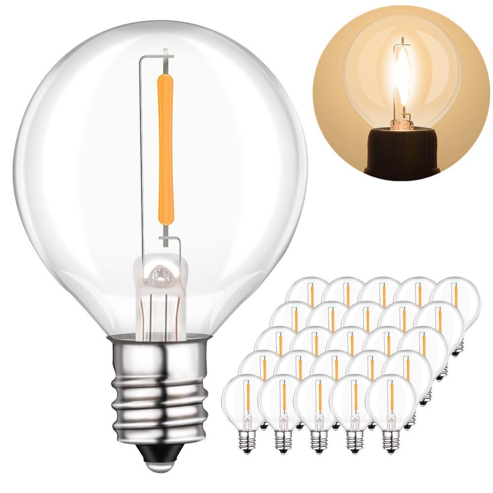 25pcs G40 1W LED String Lights Replacement Bulb E12 E14 LED lamp Clear Glass Globe Bulb LED Bulbs for G40 Globe String Lights