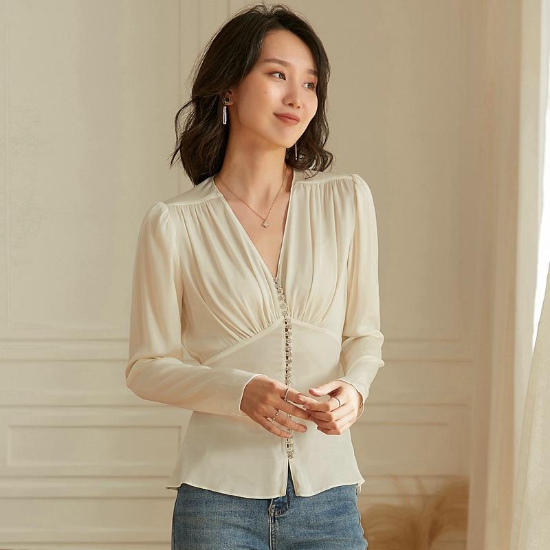 100% Silk Blouse Women Shirt Vintage Design Beading Solid 2 Colors V-Neck Long Sleeves Tops Elegant Style New Fashion