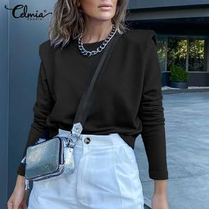 Celmia Thin Basic Pullovers Women Fashion Long Sleeve Sweatshirts Spring Autumn Casual Loose Sweatshirt  Chic Tops Plus Size 5XL