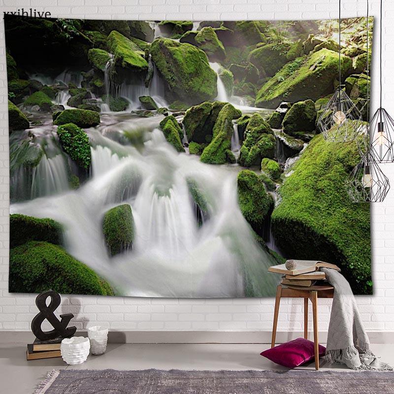 Гобелен на заказ с принтом пейзажа водопада, большие настенные гобелены в стиле хиппи, настенное украшение в богемном стиле, украшение для к...