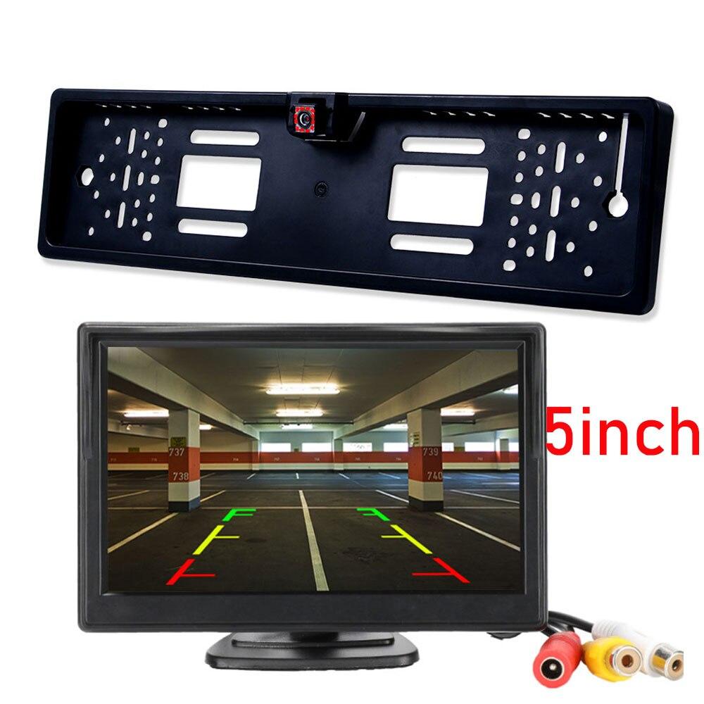 4,3 5 TFT Monitor de coche cámara de visión trasera impermeable UE Europea placa marco Parktronic reversa visión nocturna cámara de respaldo