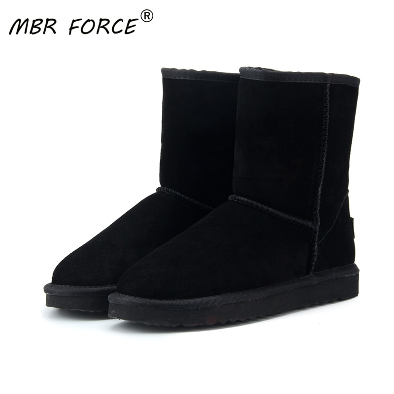 MBR FORC Classic waterproof genuine cowhide leather snow boots Wool Women Boots Warm winter shoes fo