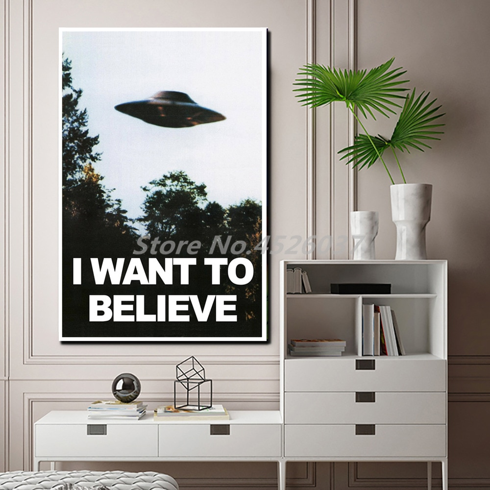 The x-files I Want To Believe TV Poster UFO pinturas en lienzo, arte moderno Cuadros decorativos de pared decoración del hogar