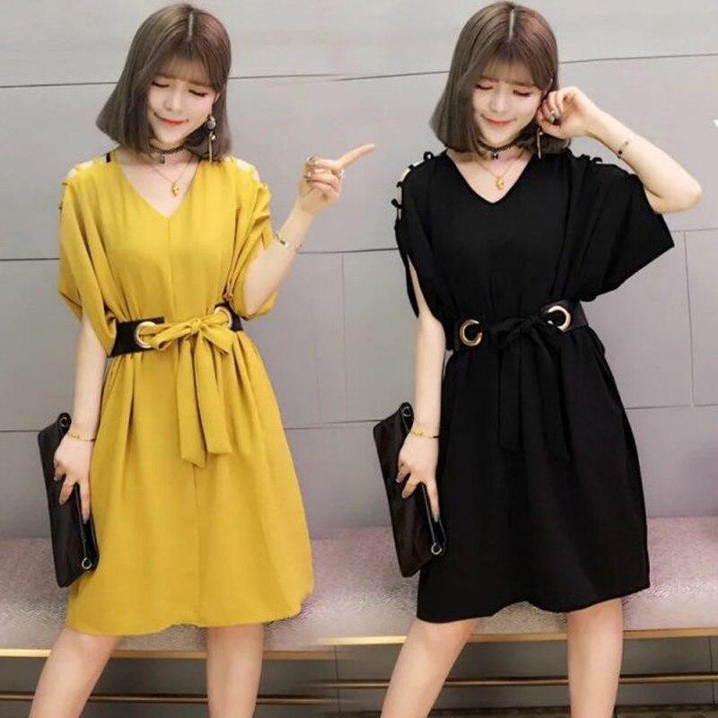 Женская одежда, Элегантное летнее платье с открытыми плечами, новый стиль, Повседневная Свободная офисная одежда для молодых девушек, Корей...