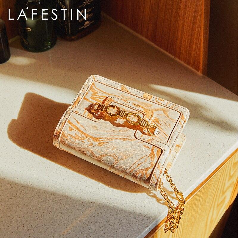 LA FESTIN الفاخرة حقيبة أنيقة للنساء 2021 جديد حقيبة ساعي صغير موضة سلسلة Crossbody الكتف الإناث حقائب صغيرة مربعة