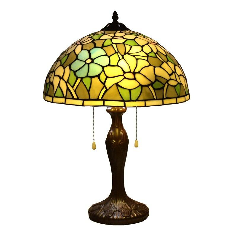 Lámparas de estilo Tiffany, lámpara de mesa de lirio, luz de escritorio de 24 pulgadas de alto, vitral de 16 pulgadas de ancho, lámpara de sombra Vintage, lámpara victoriana antigua
