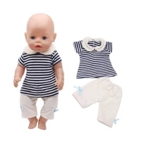 43 cm boy american dolls clothes 2pcsset summer collar striped short sleeved suit born baby toy accessories 18 inch girls f291