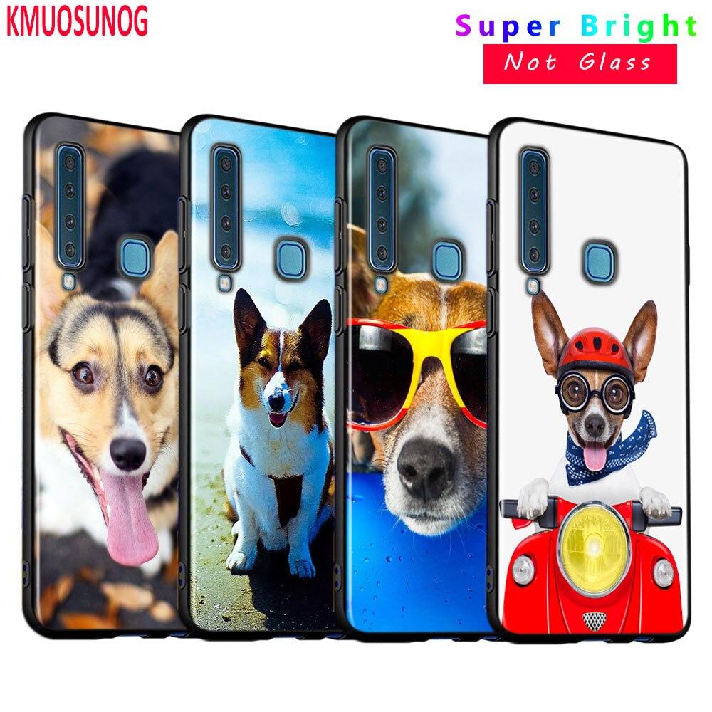 Cubierta de silicona negra de moda lindo perro Corgi para Samsung Galaxy A9 A7 2018 A8 A6 Plus A5 A3 Star 2017 2016 caja del teléfono