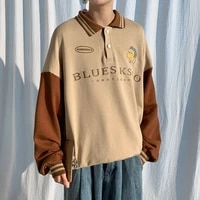 men cotton casual long sleeve hoodies loose fashion sweatshirts khakigreenblue color coats lapel collar pullover m 2xl