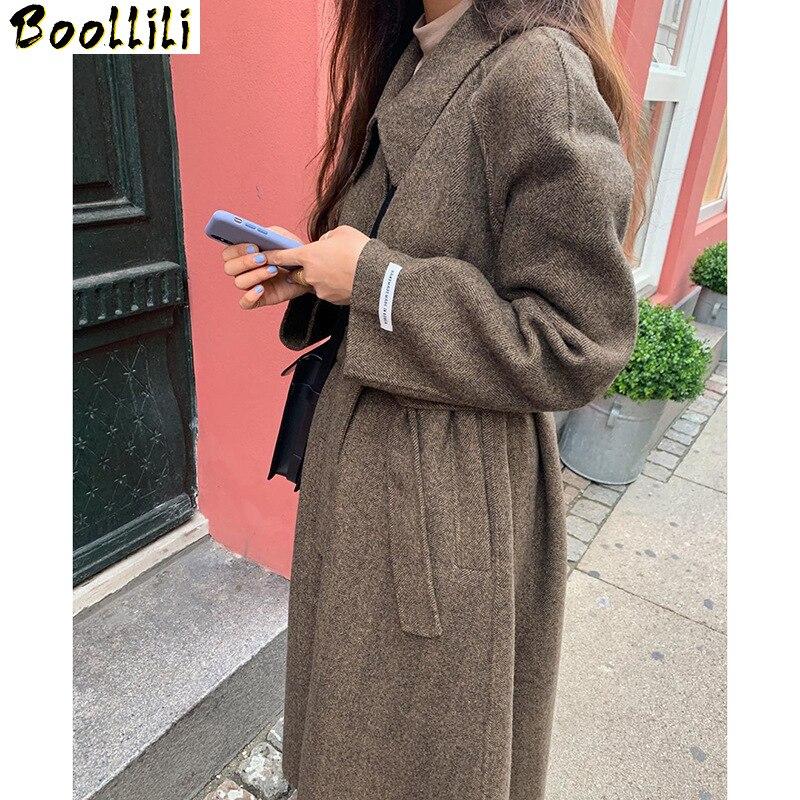 Boollili-معطف من الصوف على الوجهين للنساء ، ملابس أنيقة ، على الطراز الكوري ، مجموعة ربيع وخريف 2020