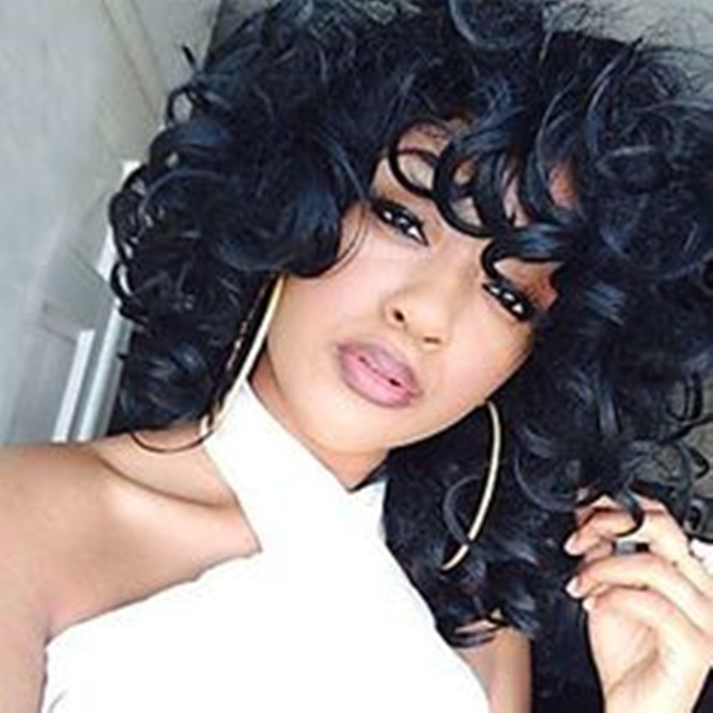Curly Wigs For Black Women Short Bob Wig Hair Heat Resistant Wig Medium Length Daily Party Loose Wave Black Curly Hair Wigs