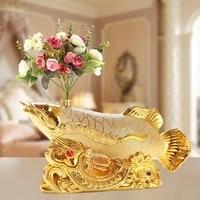 40cm wedding decor home office bar club business art feng shui money drawing gold dragon fish arowana ornament wine pot statue