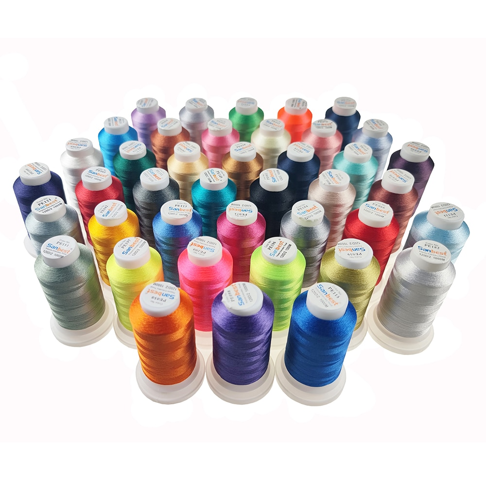 Sanbest Polyester Embroidery Thread 1000M Filament Threads High Strength Sheen For Brother / Babylock/Janome Machine Sewing Home
