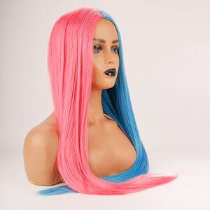 DLME Long Straight Colorful Wig Heat Resistant Half  Pink Half Blue Wig Long Synthetic Hair Cosplay Anime wig