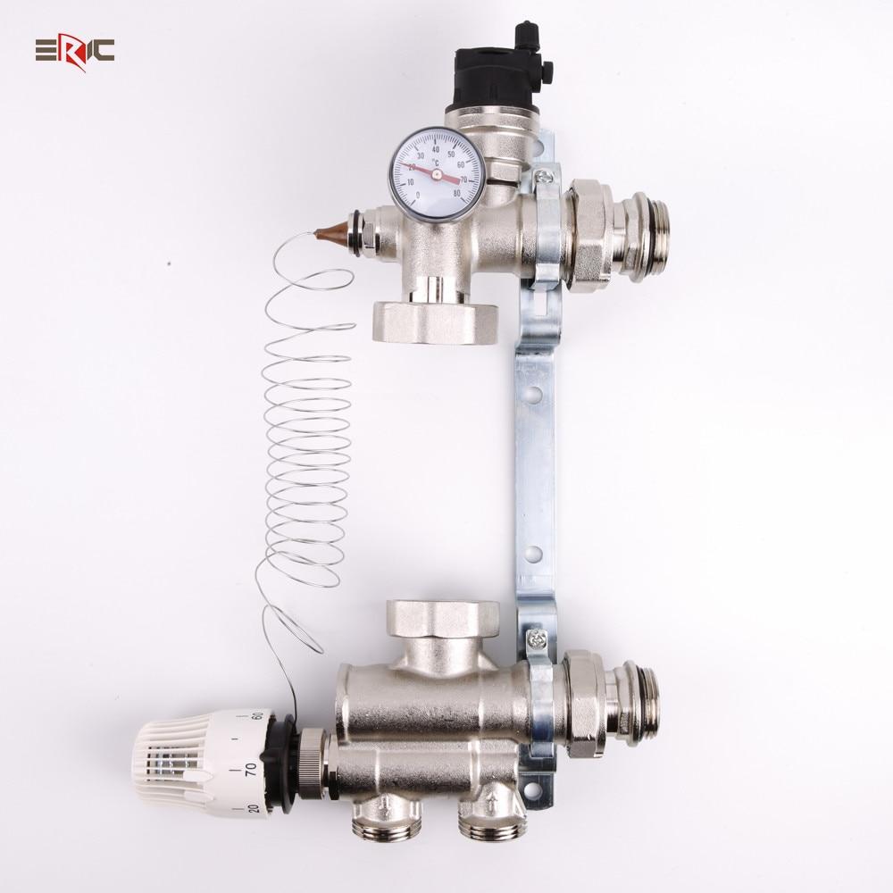 DN25 водяные циркуляционные насосы, коллекторный Клапан Горячего/холодного смешивания для системы нагрева пола, термостатический контроль